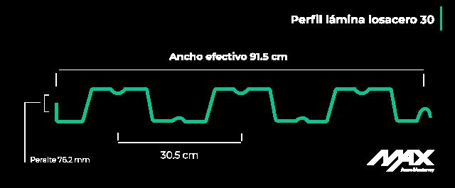 Medidas de la lámina losacero 30; perfil 30 de losacero Ternium.