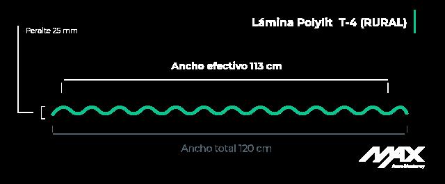 perfil lámina polylit t4 Max Acero Monterrey
