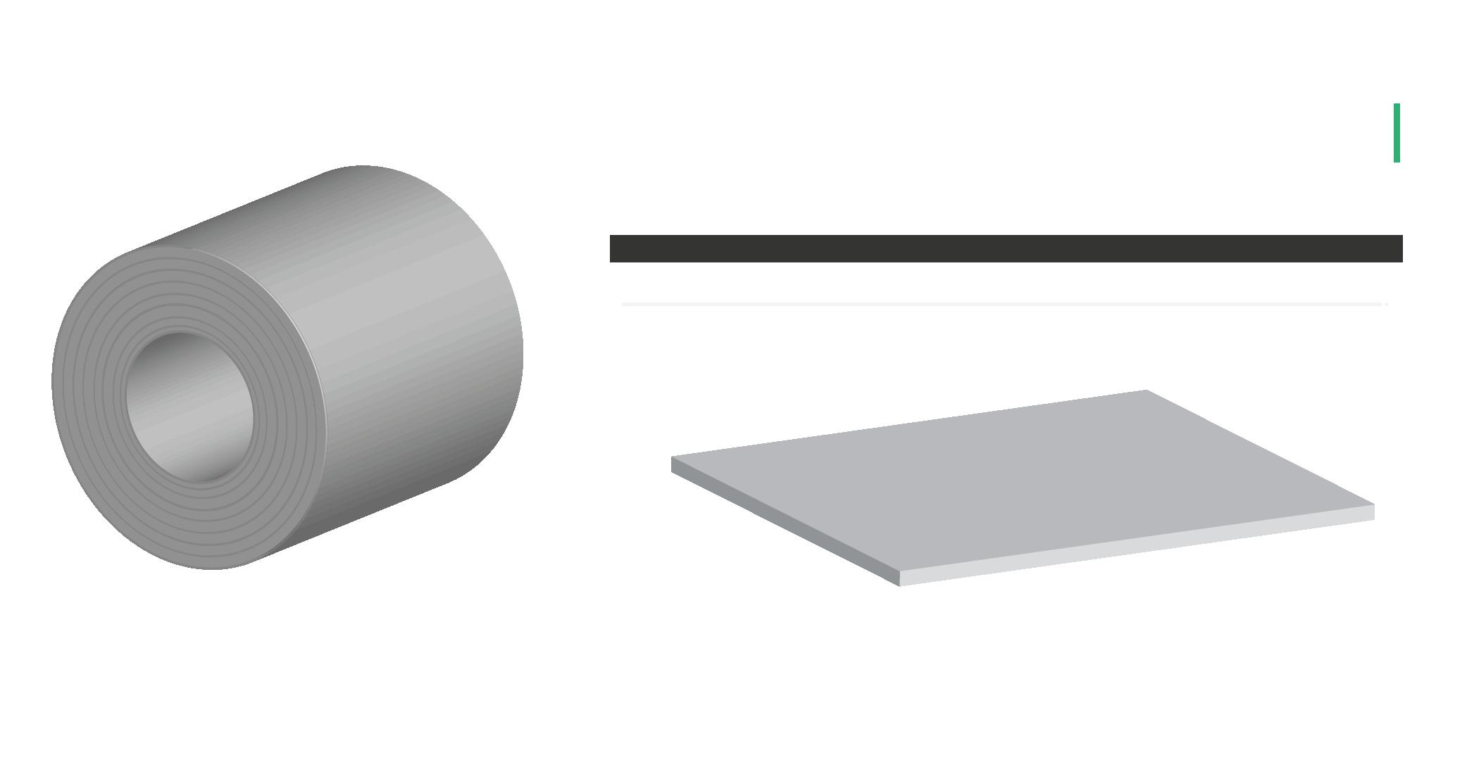 Lámina negra de acero, medidas del producto.