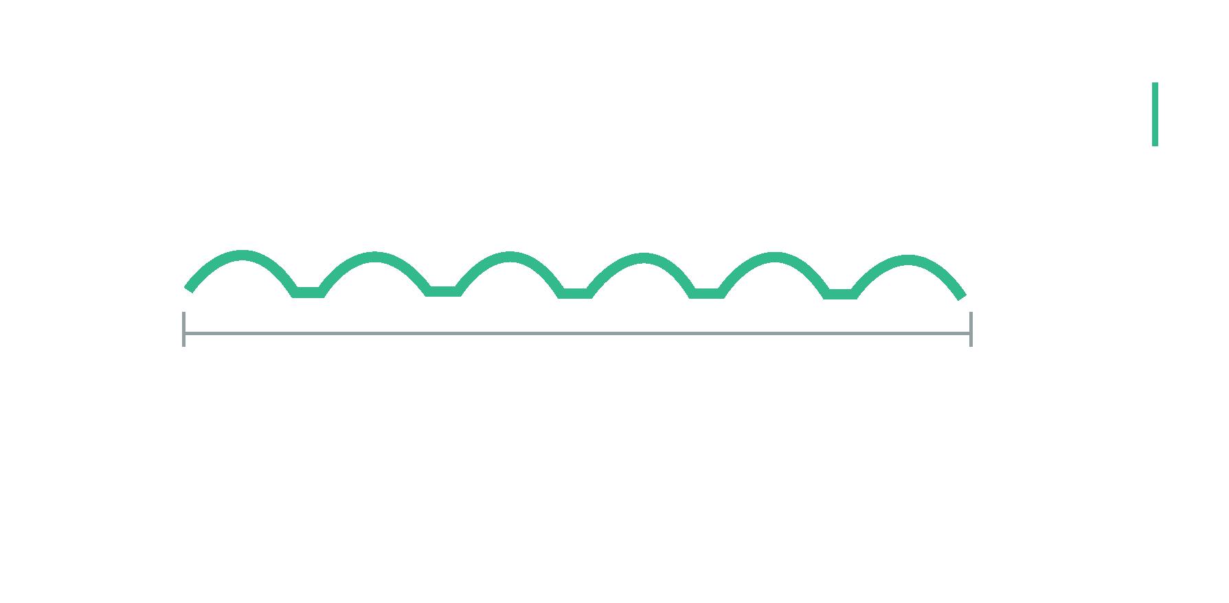 Medidas de la lámina teja de seis canales.